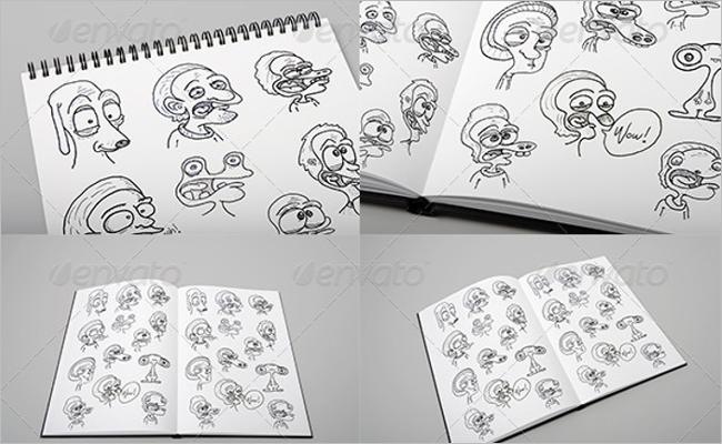 Sketchbook Mockup Custom Template