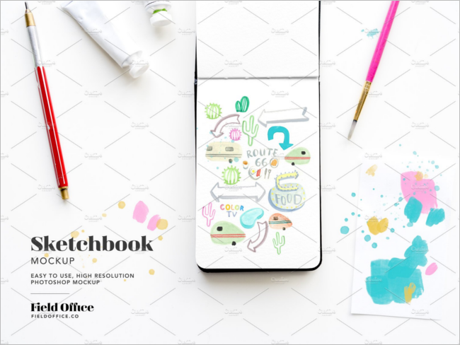 Sketchbook Mockup Design Template