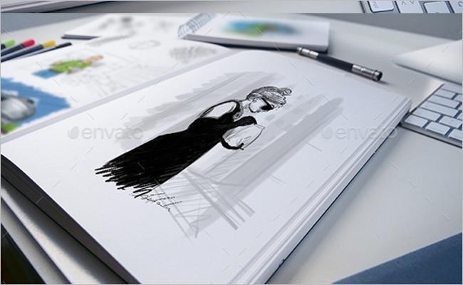 Sketchbook Mockup Illustration Template