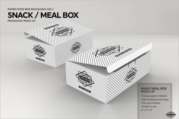 Snack Food Box Packaging Mockup