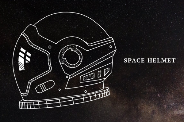 Space Helmet Illustration Mockup