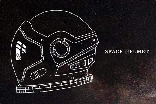 Space Helmet Illustration Mockup