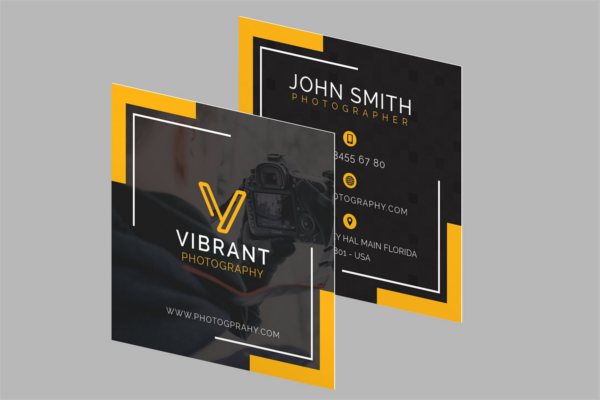 Square Business Card Illustration Design