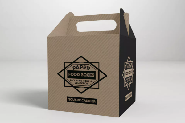Square Food Carrier Packaging Mockup