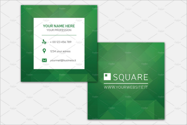 Square Green Business Card Design