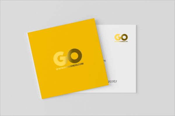 Square Yellow Business Card Template