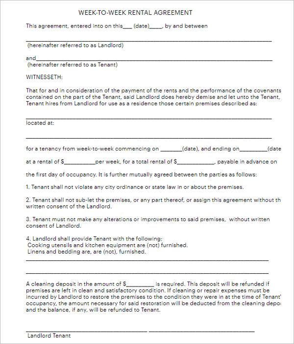 Standard Agreement Form Template