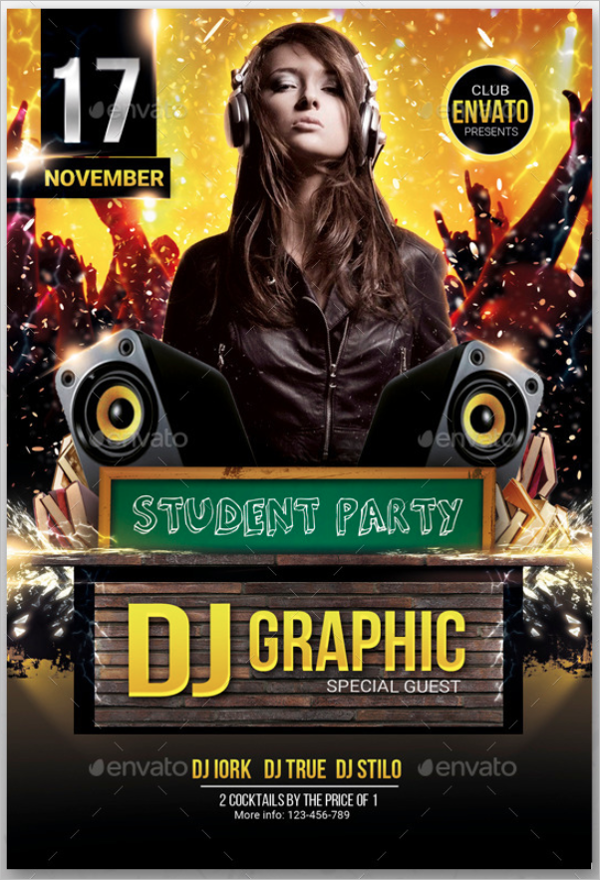 Student Party Flyer Template