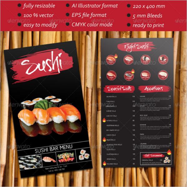 Sushi Bar Menu template