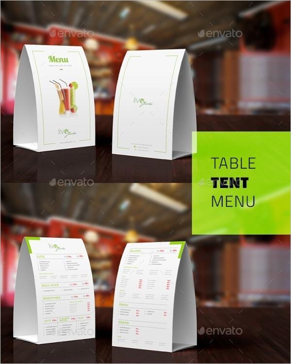 Table Tent Bar Menu Design