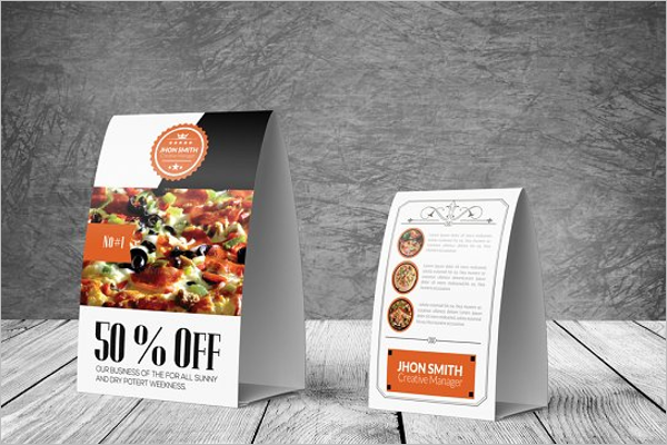 Table Tent Card Mockup Photoshop