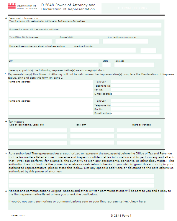Tax Power of Attorney Form