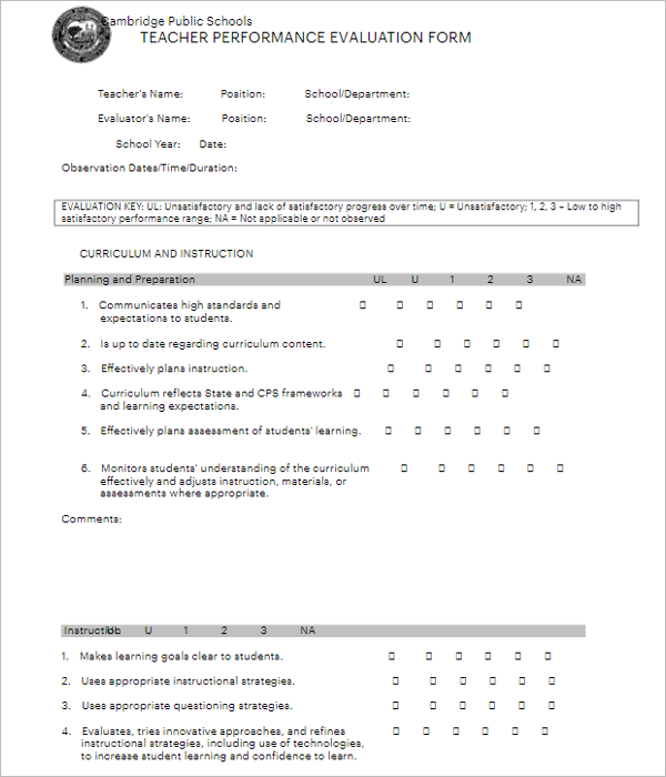 Teacher Evaluation Form For Student