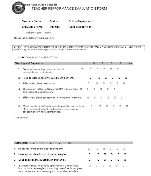 Teacher Evaluation Form For Student
