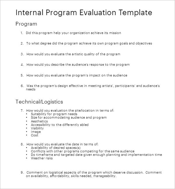 Teacher Evaluation Form wORD