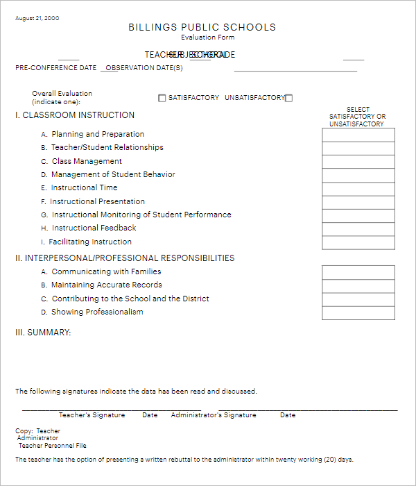 Training Teacher Evaluation Form