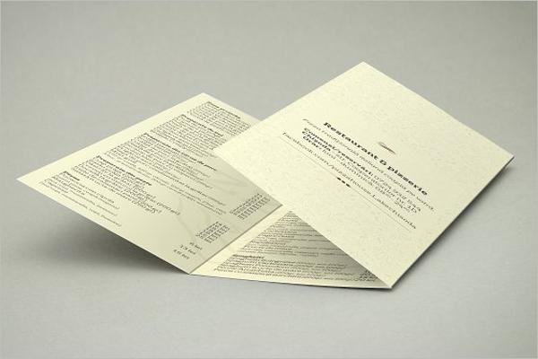 Tri-Fold Menu Card Template