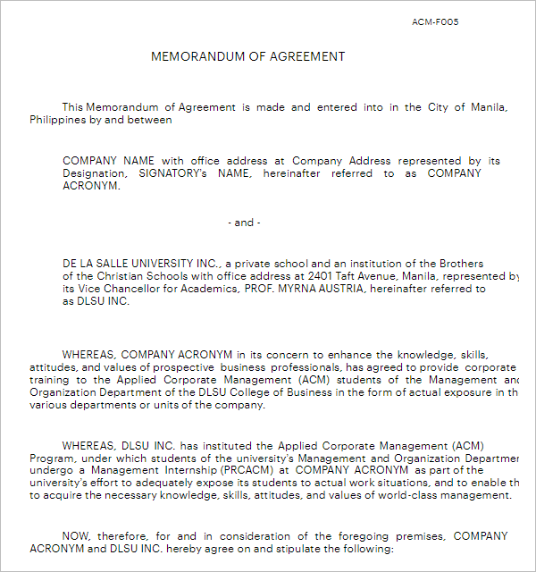 Agreement Memorandum Template