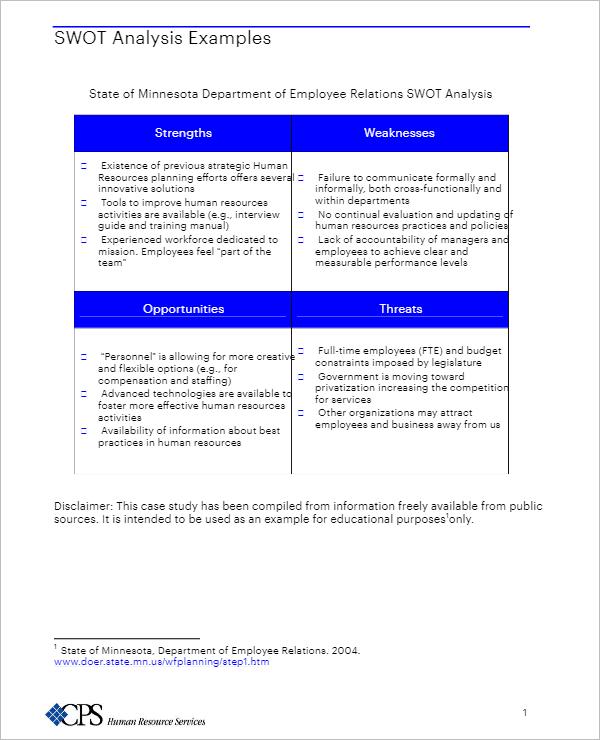 Analysis Example Foe SWOT
