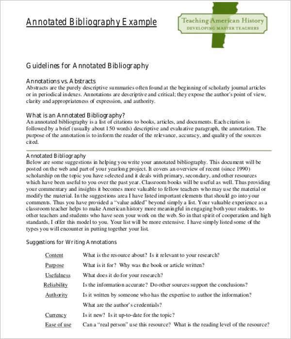 Annotated Bibliography APA Template