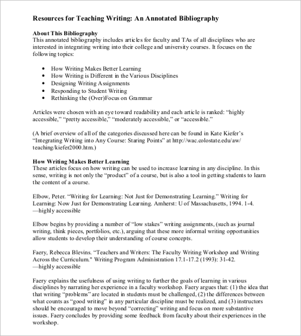Annotated Bibliography Example PDF