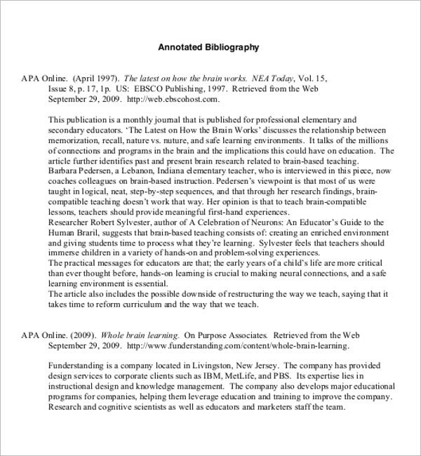 Annotated Bibliography Free Template