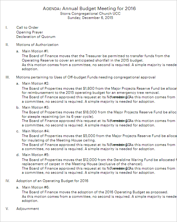 Annual Budget Meeting Agenda Template