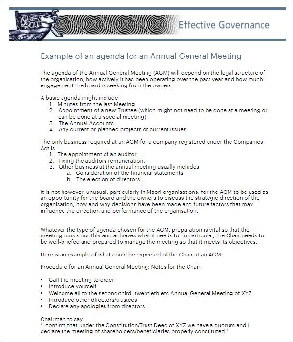 Annual Meeting Agenda Template