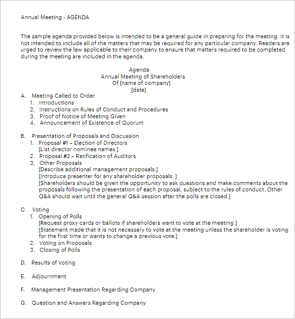 Annual Shareholders Meeting Agenda Template