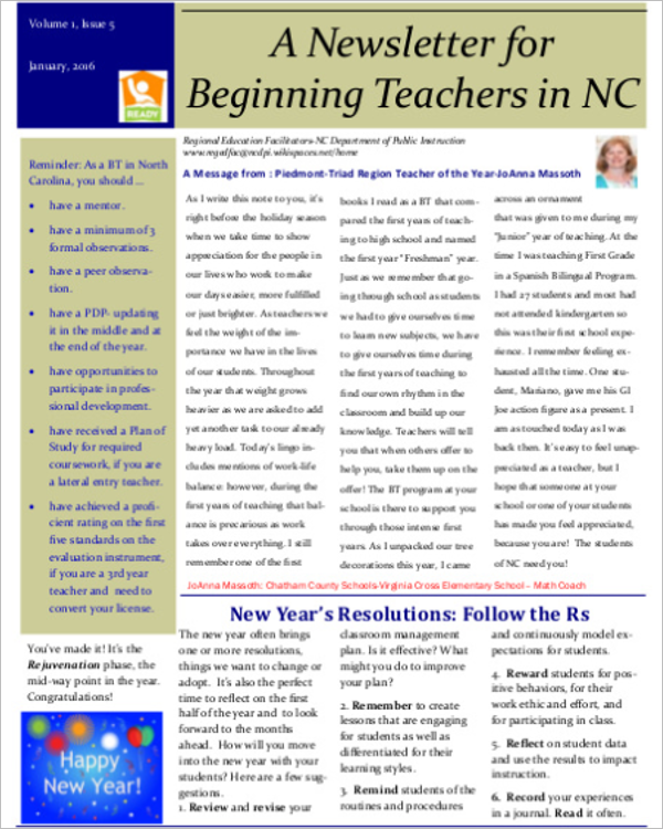 Beginning Teacher Newsletter Template