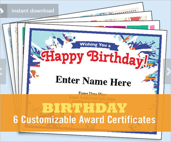 Birthday Certificate Word Template