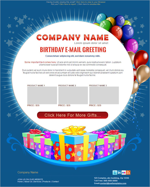 Birthday Wishes Email Template