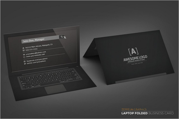 Black Edition Laptop Business Card Template