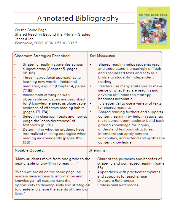 Blank Annotated Bibliography Template