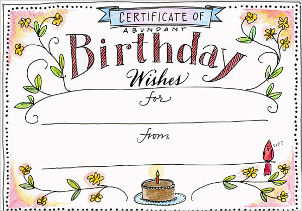 Blank Birthday Certificate Template