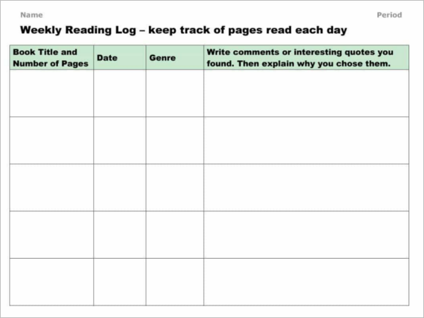 50+ Reading Log Templates Free PDF, Word, Excel Formats