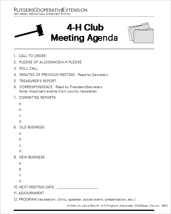 10  free club meeting agenda templates excel  word formats