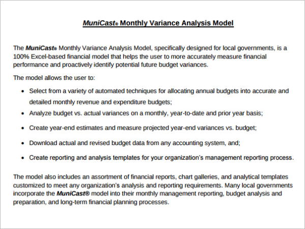 Budget Analysis Template Free Download