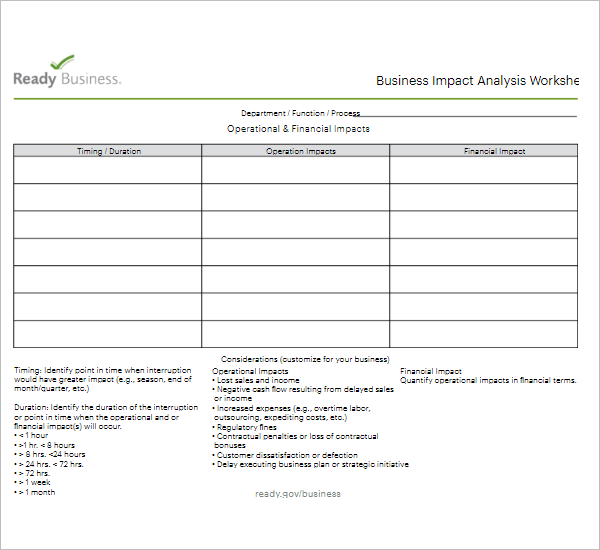 Business impact analysis excel template business impact analysis excel template cheaphphosting Gallery