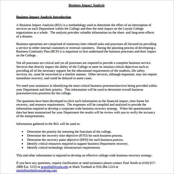 Business Impact Analysis PDF Format