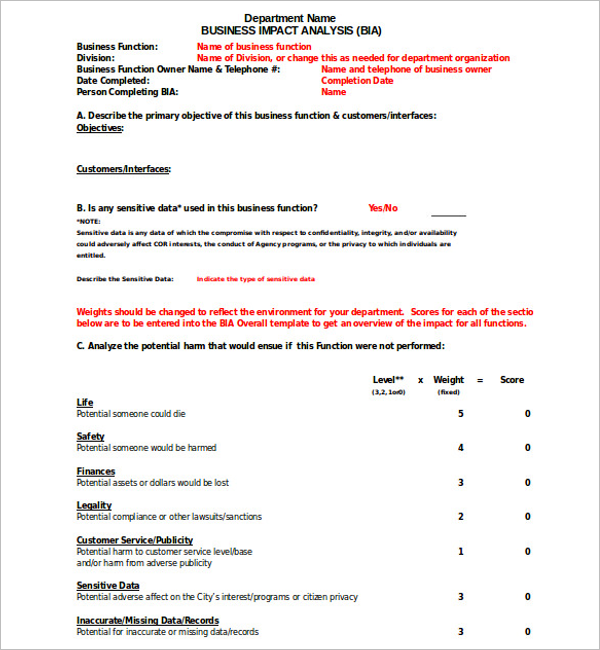 Business Impact Analysis Word Template
