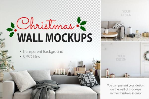 Christmas Wall Mockup Design