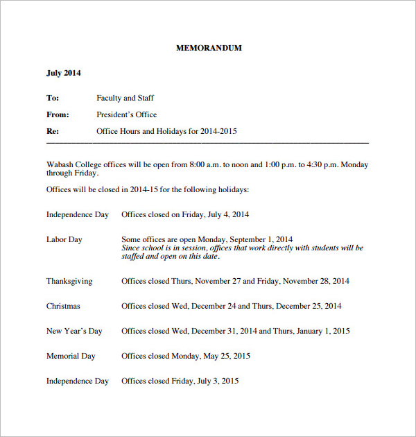 Clean Holiday Memo Template