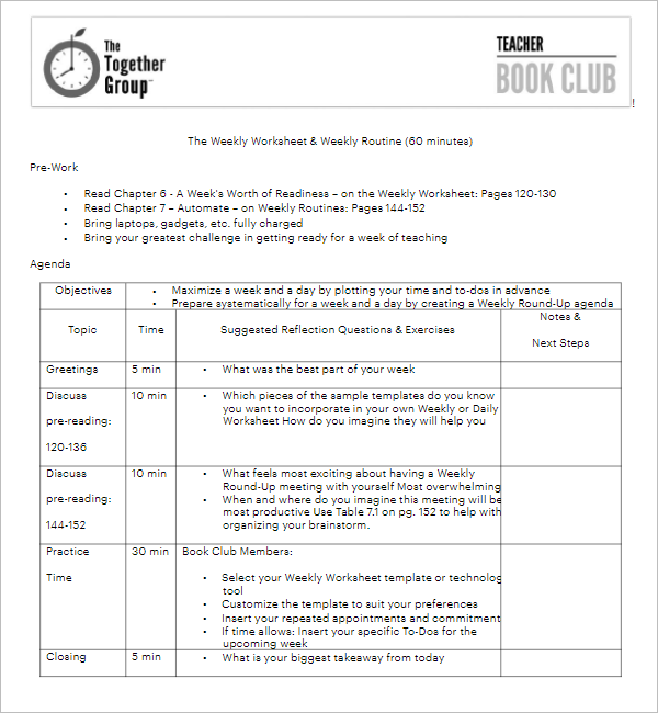 Club Meeting Agenda Sample