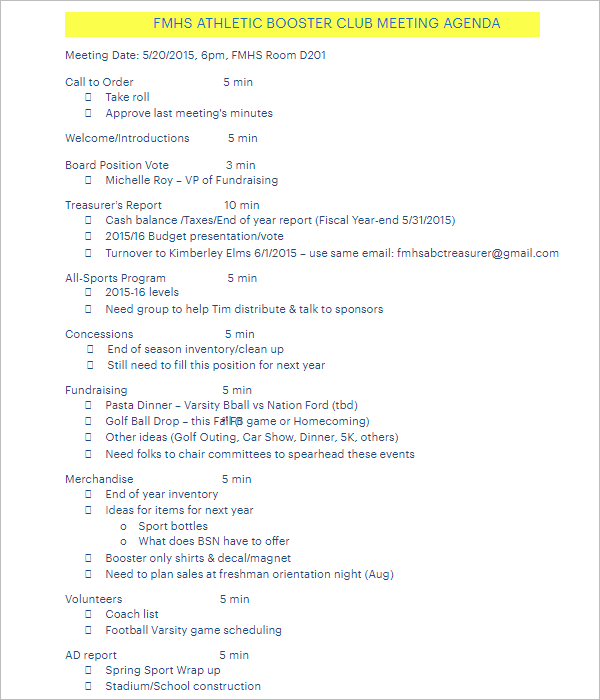 Club Meeting Agenda Template