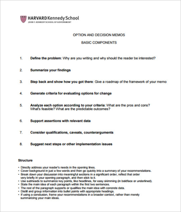 Decision Memo Template PDF Download