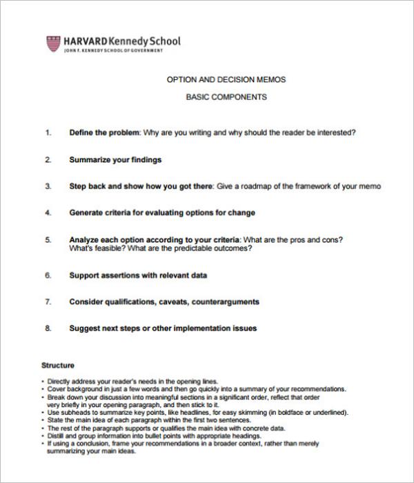 Decision Memo Template PDF Download