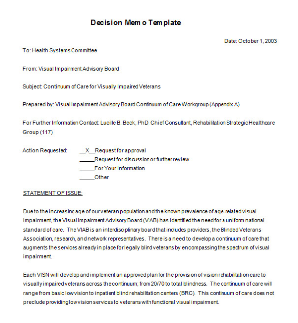 Decision Memorandum Format Download