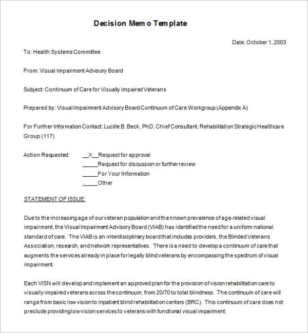 Decision Memorandum Format Download