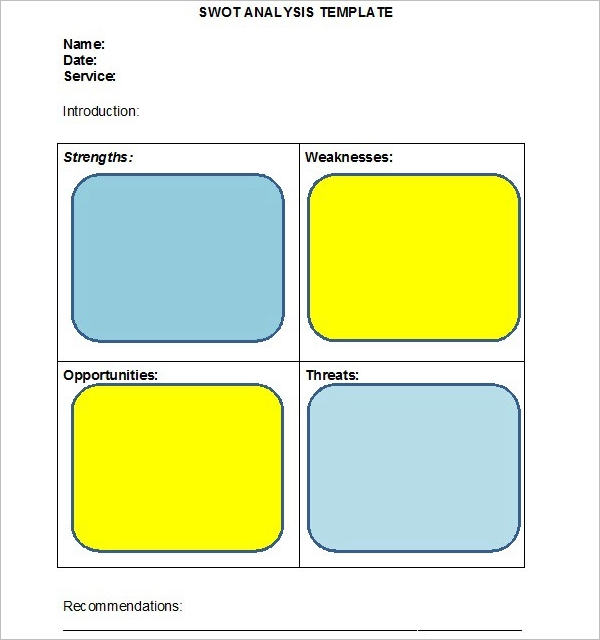 Blank swot analysis template powerpoint